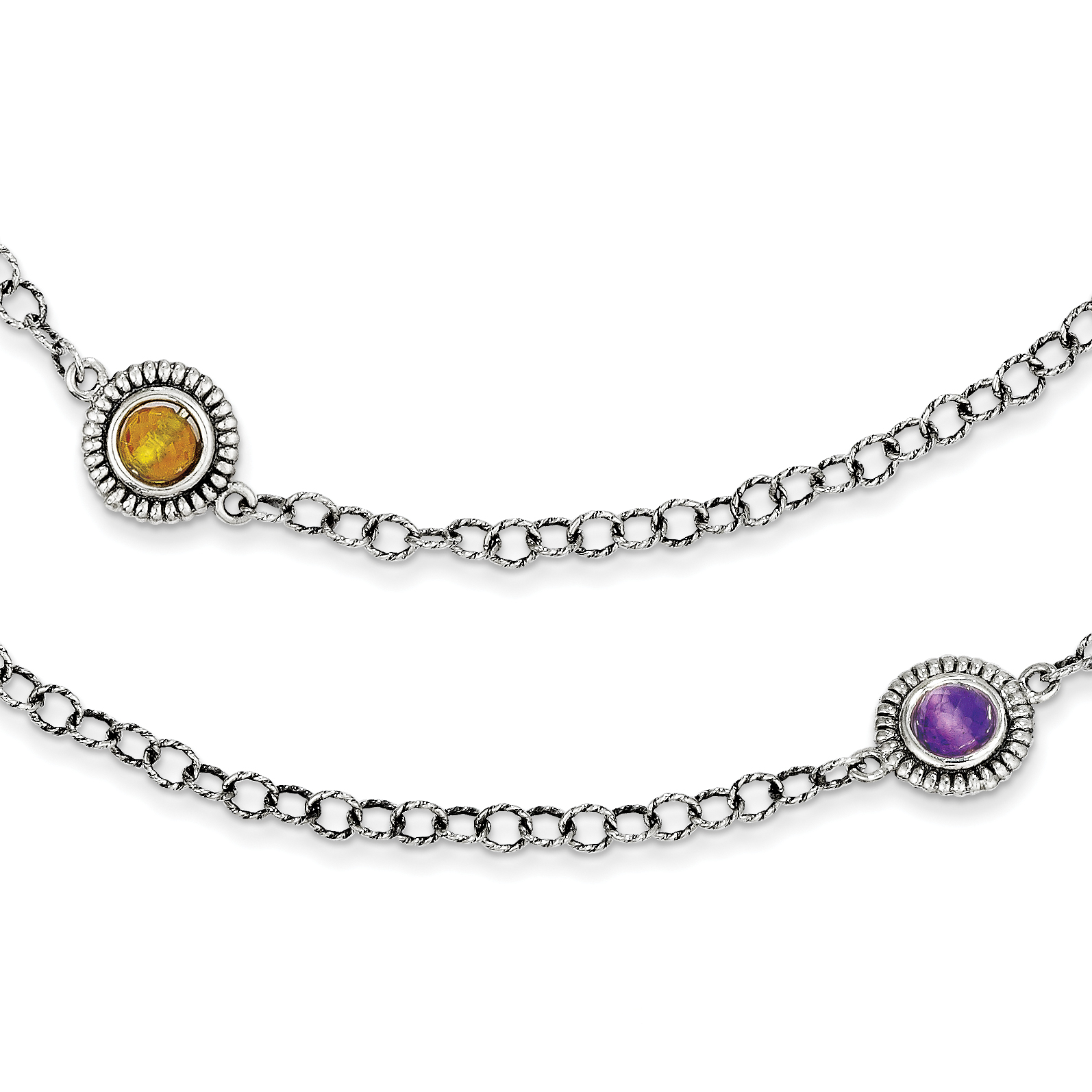 Roy Rose Jewelry Sterling Silver and 14K Gold Amethyst, Blue Topaz, Citrine Necklace ~ Length 42'' inches by