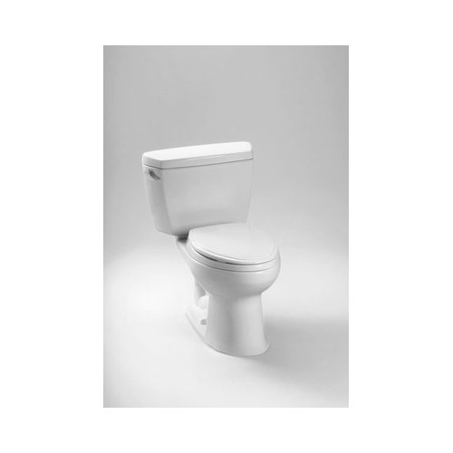 """Toto CST744EFR.1#01 Eco Drake Two Piece Elongated 1.28 GPF Toilet with E-Max Flush System and Right-Hand Trip Lever, Less Seat (1"""" Rough-In), Cotton"""