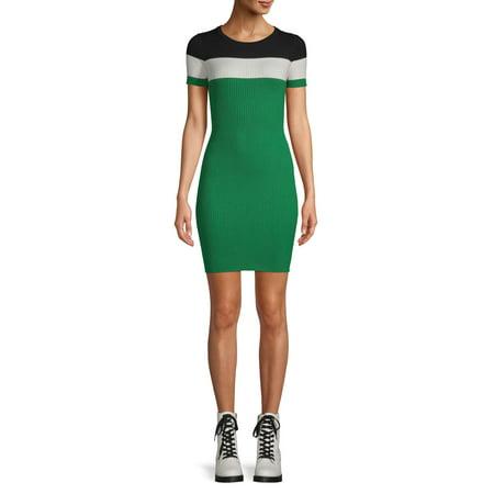 No Boundaries Juniors' Short-Sleeve Striped Rib Dress Fuschia Juniors Dress