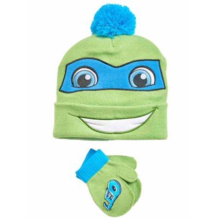 TMNT Toddler Boys Teenage Mutant Ninja TurtlesTrapper Hat & Mittens Beanie Set