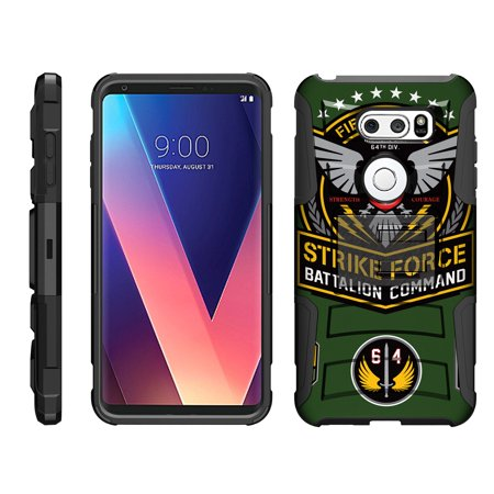 TurtleArmor ® | For LG V30 / LG V30+ / LG V30 Plus [Hyper Shock] Rugged Dual Layer Hybrid Armor Kickstand Holster Belt Clip Case - Strike Force