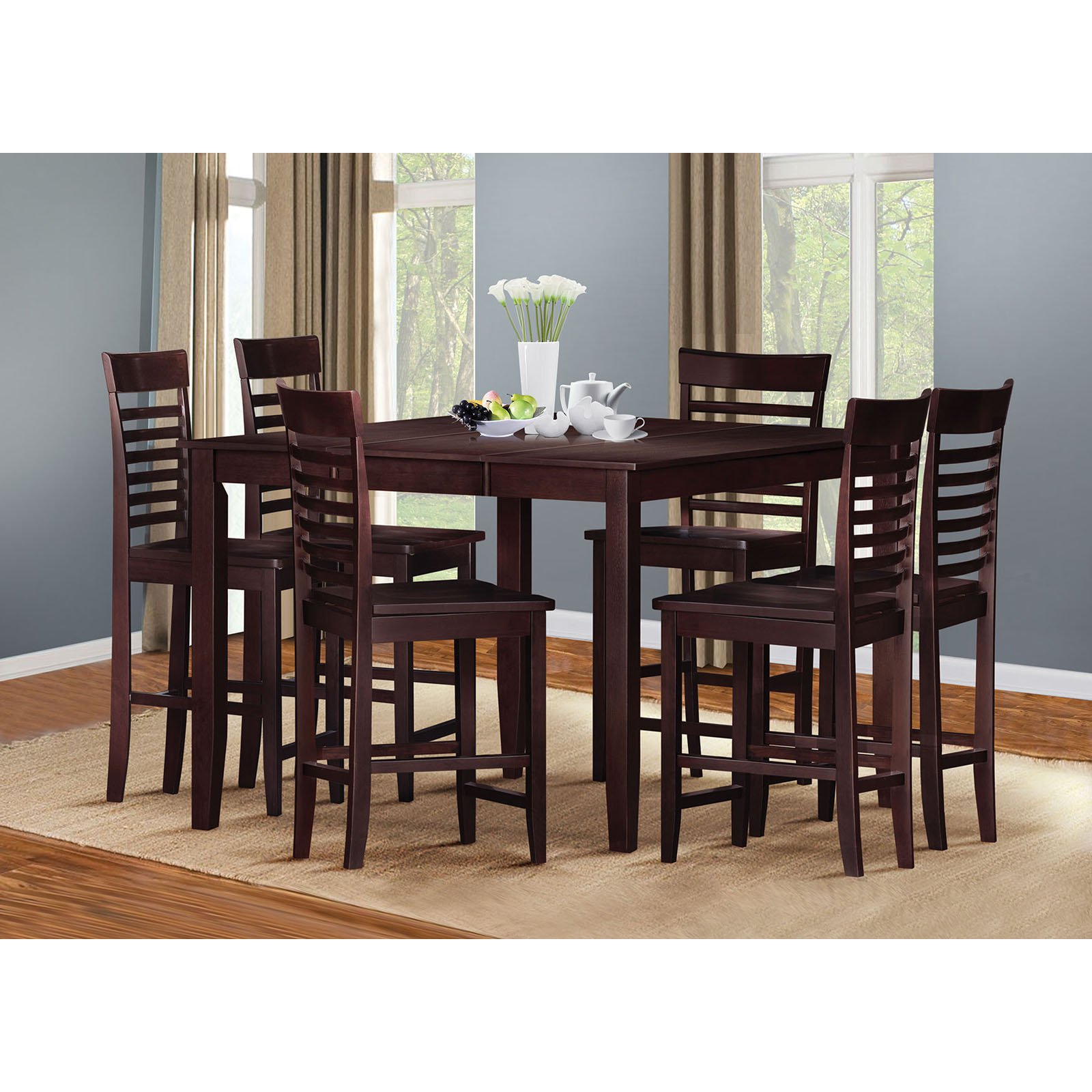 Acme Furniture Ebony 7 Piece Square Counter Height Dining Table Set
