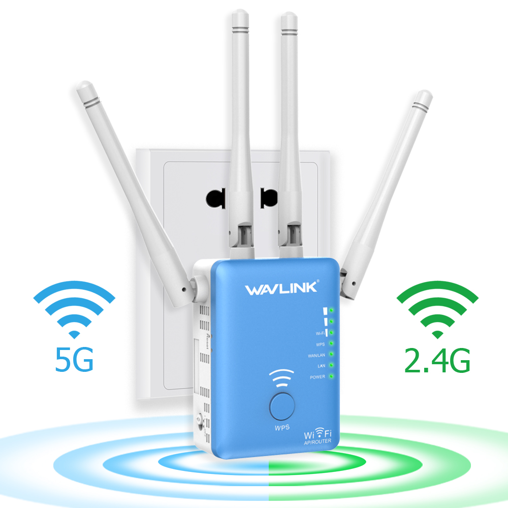 Wavlink AC1200 Dual Band WI-FI Range Extender Mini Wireless Router Wi-Fi Repeater Signal Booster Amplifier with 4 High Gain External Antennas