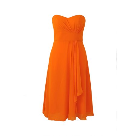 Faship Womens Elegant Strapless Sweetheart Neckline Short Formal Dress Orange -