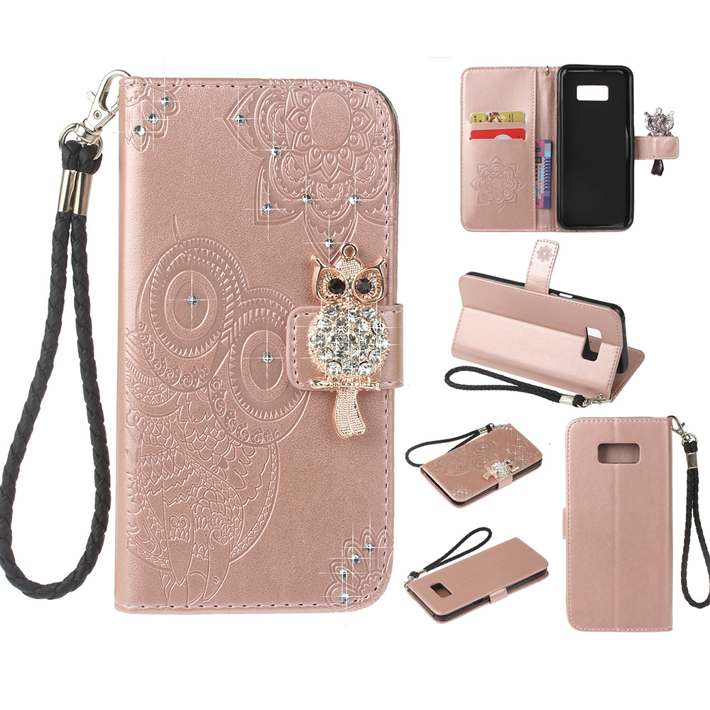 Galaxy S8 Case, Allytech Slim PU Leather Cute Owl Diamond Embossed Folio Flip Stand Feature Cards Holder Shock-Absorption Detachable Hand Wrist Wallet Cases and Covers for Samsung Galaxy S8, Rosegold