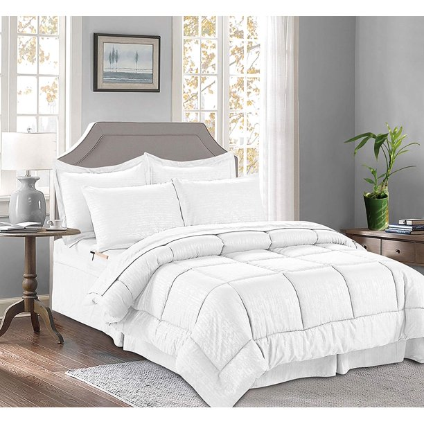 6-PIECE Bed-in-a-Bag Comforter - Silky Soft Bamboo Design Comforter ,Bed Sheet Set ,with Double Sided Storage Pockets, Twin/Twin XL, White