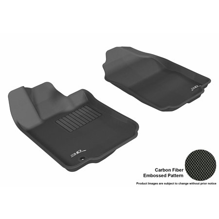 Black Ford Fusion (3D MAXpider 2006-2012 Ford Fusion Front Row All Weather Floor Liners in Black with Carbon Fiber Look)