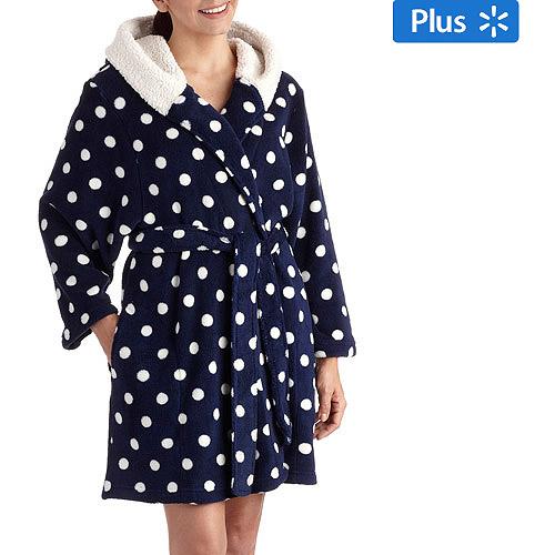 DF by Dearfoams Women's Plus Sherpa Hooded Robe