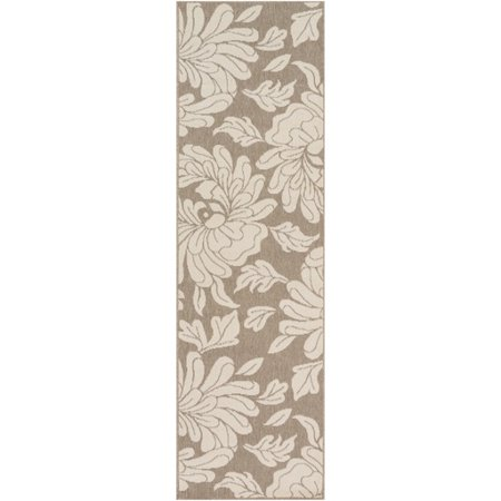 2.25' x 11.75' Flowery Foundation Taupe Beige and Dutch White Shed Free Area Throw Rug (Best Foundation For A Shed)
