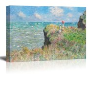 wall26 - Claude Monet - Cliff Walk at Pourville - Impressionist Modern Art - Canvas Art Home Decor - 24x36 inches