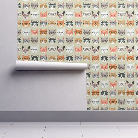 Wallpaper Roll or Sample: Cats Cat Hipster Animals Cute Retro Geek](Halloween Cats Wallpaper)
