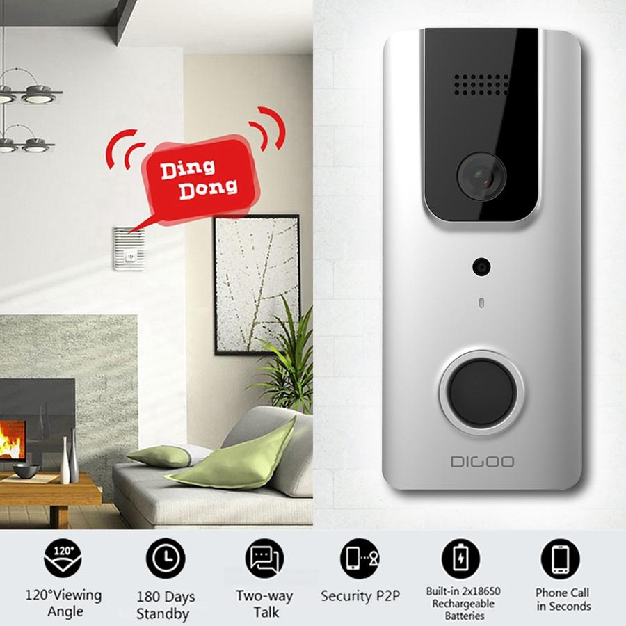 HD1080P WiFi Wireless DoorBell with Camera , DIGOO Waterproof Smart Home Night Visual Video Door Bell Security Camera Phone App Control Intercom Alarm Clear Night Vision Doorbell