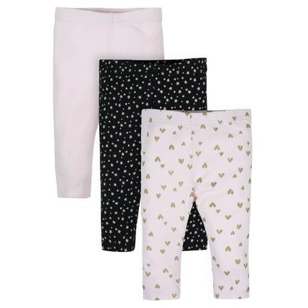 Gerber Baby Girl Organic Active Pants, 3-Pack Gerber 3 Pack Terry