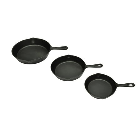 WALFRONT Set of 3 BBQ Steak Pans Cast Iron