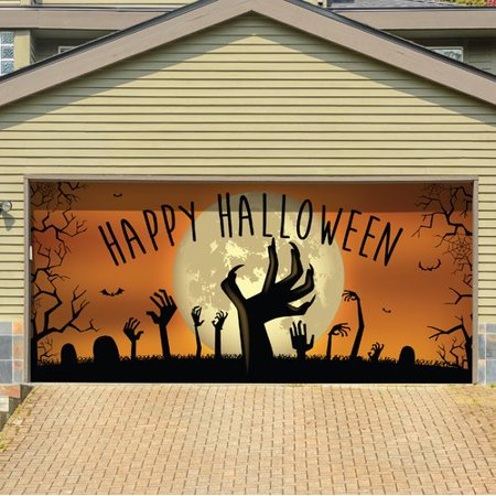 The Holiday Aisle Happy Halloween Graveyard Zombie Hands Garage Door Mural for $<!---->