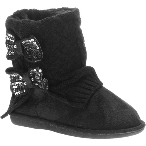 Girls' Felice Cable Knit Sequin Bow Boots