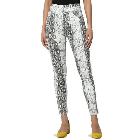 Belted Print Jeans - TheMogan Junior's Curved Hugging Belted High Waist Snake Print Crop Skinny Jeans