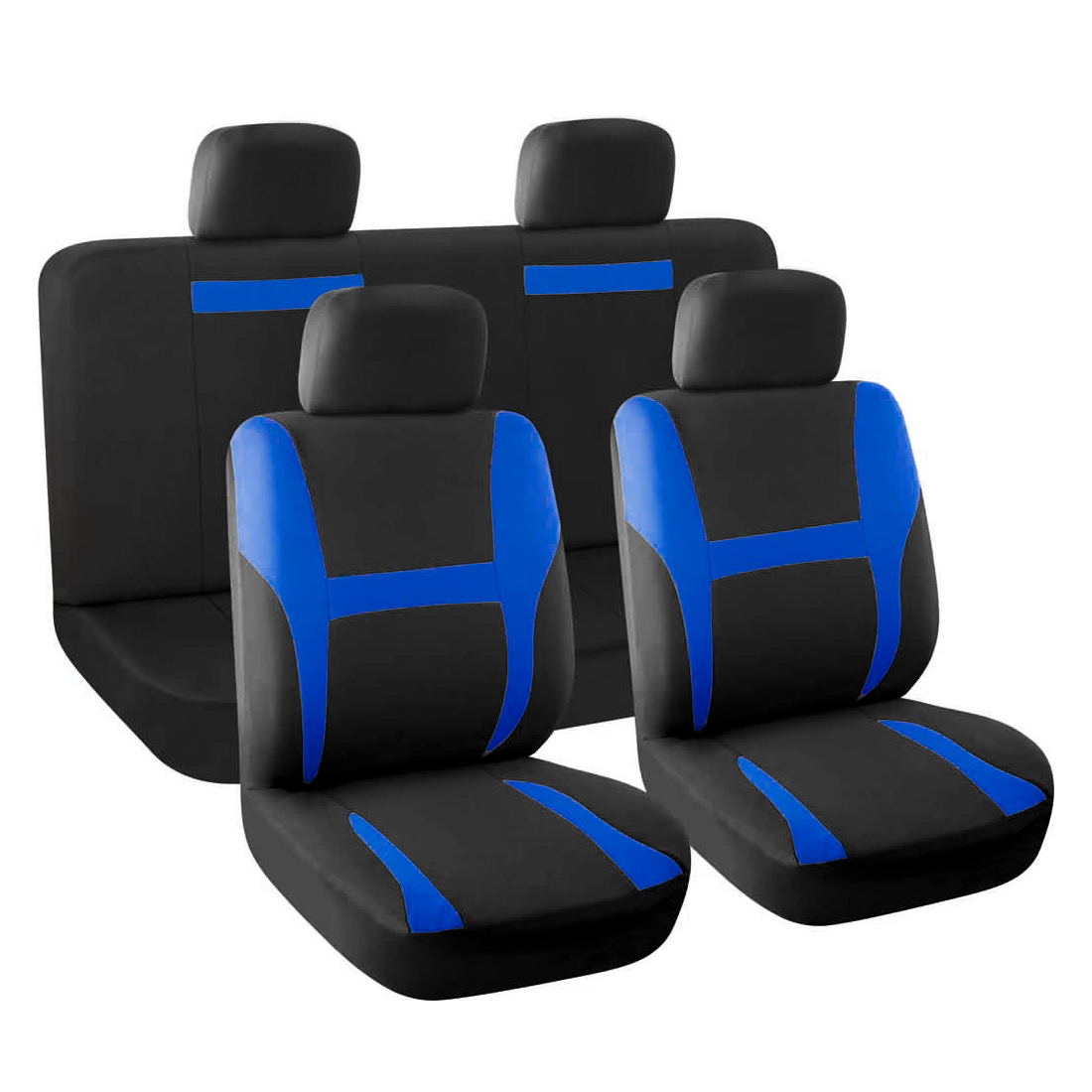 Car Seat Covers Full Set Blue Black for Auto SUV with Head Rests