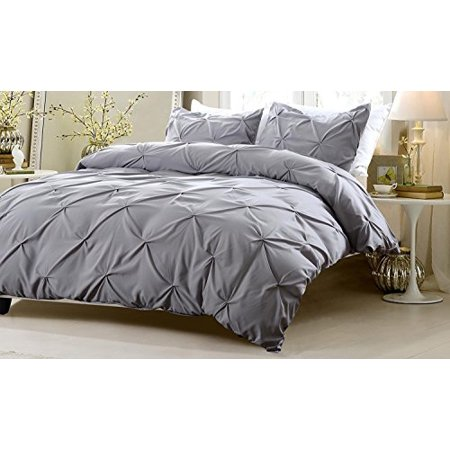 oversized for pillow top 4pc pinch pleat design gray bedding set includes comforter and duvet. Black Bedroom Furniture Sets. Home Design Ideas