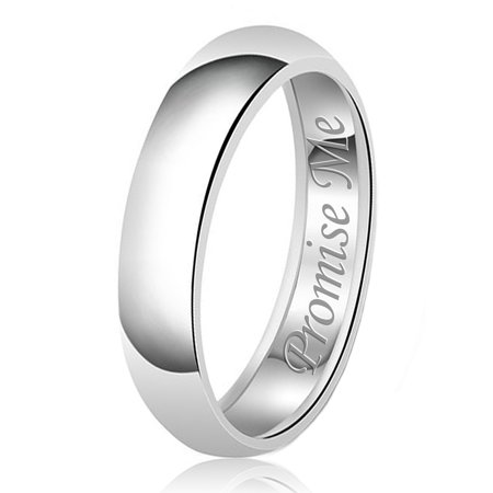 6mm Promise Me Engraved Classic Sterling Silver Plain Wedding Band Ring