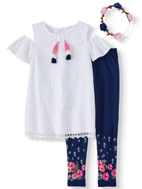 ddda9c64314a Product Image Cold Shoulder Eyelet Tunic and Legging, 2-Piece Outfit Set (Little  Girls &