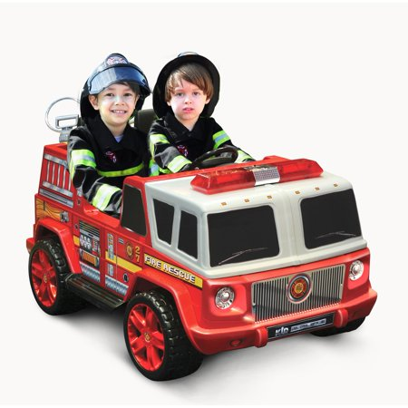 Kid Motorz Two-Seater Fire Engine 12-Volt Battery-Operated Ride-On, - Fire Truck For Kids To Ride
