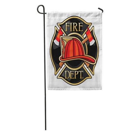 SIDONKU Red Badge Fire Department Firefighters Maltese Cross Symbol Truck Helmet Garden Flag Decorative Flag House Banner 12x18 - Fire Department Maltese Cross