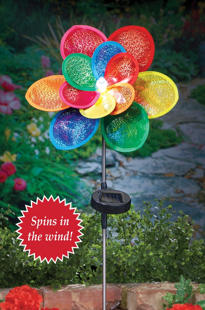 Solar Colorful Floral Wind Spinner Garden Stake, Multi by Collections Etc