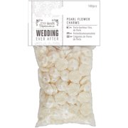 Papermania Ever After Wedding Charms, 100pk, Pearl Flowers, 15mm