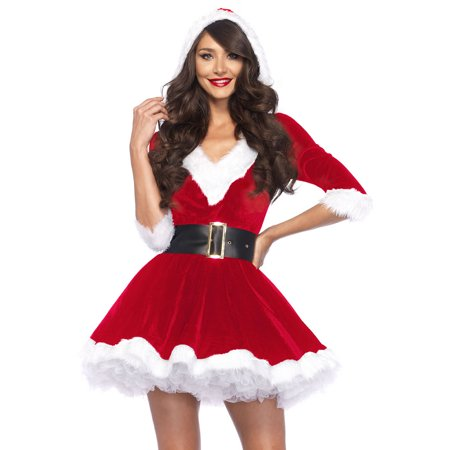Leg Avenue Women's Mrs. Claus 2-Piece Santa Christmas Costume - Birthday Cake Costume For Adults