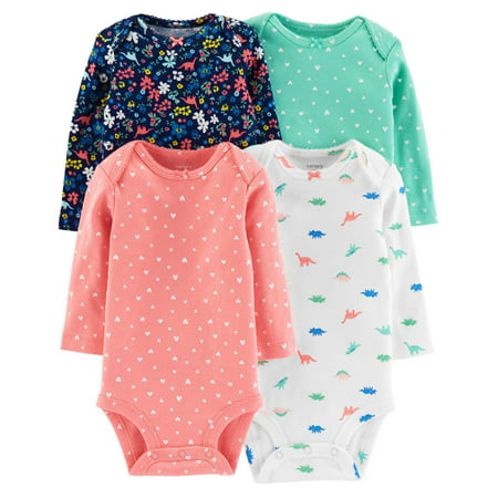Carter's Baby Girls' Dino Long Sleeve 4 Pack Bodysuits- 9 Months - Dinosaur Onesie