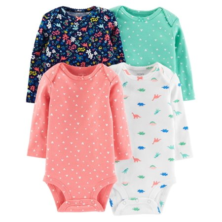 Carter's Baby Girls' Dino Long Sleeve 4 Pack - Dorothy The Dinosaur Onesie