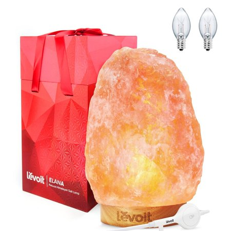 Levoit Athena Himalayan Salt Lamp Natural Himilian Hymalain Pink Salt Rock Lamps(11-15 lbs,8.5-11' Height) with Genuine Rubber Wood Base, Touch Dimmer Switch, 3 X 15 Watt Bulbs,UL Cord & Gift Box