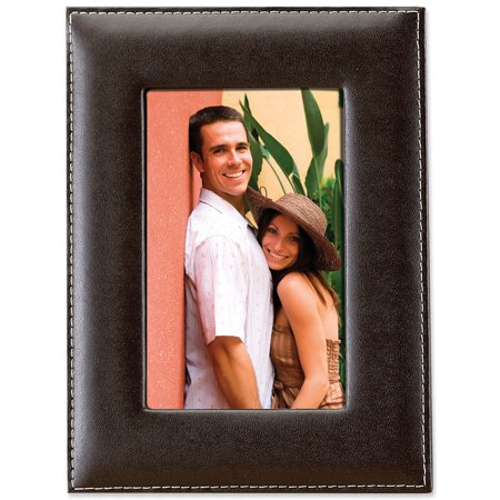 Leather Polished Frame - Dark Brown Leather 4x6 Picture Frame