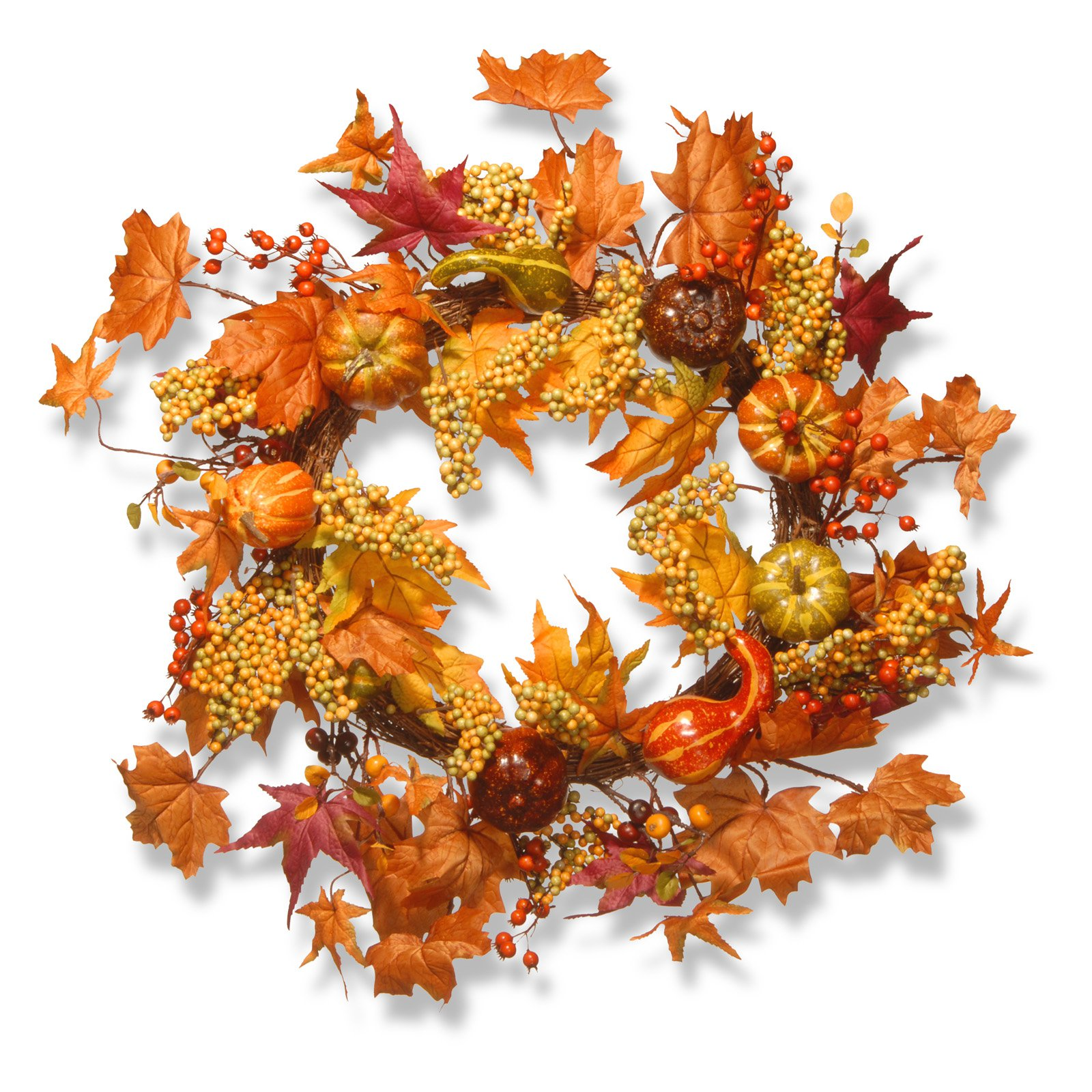 "24"" Maple Leaf and Pumpkins Wreath"