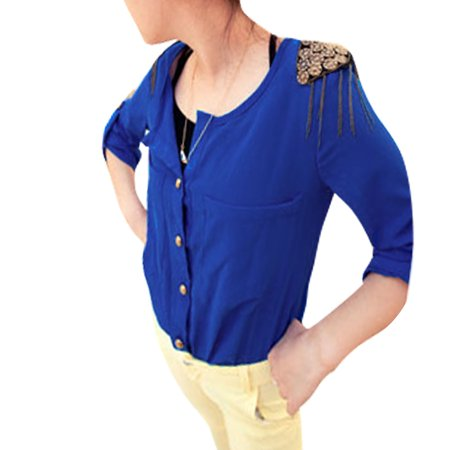 Allegra K Women's Scoop Neck Roll Up Sleeves Tassel Epaulet Blue Blouse w Tank Top (Size XS / 2)