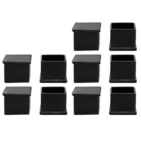 10pcs Rubber Square Furniture Table Chair Foot Leg Cap Protective Tip Pad Cover ()