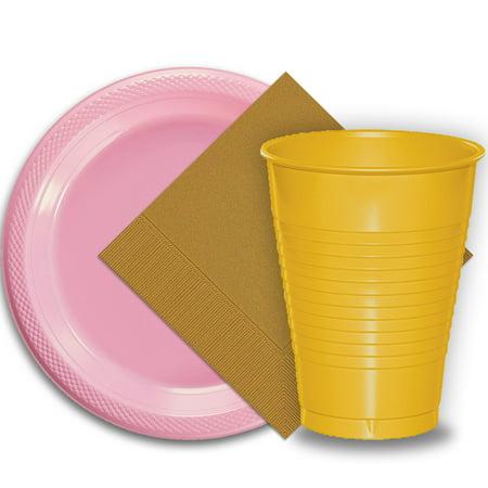 Gold Octagon Plastic Plates - 50 Pink Plastic Plates (9