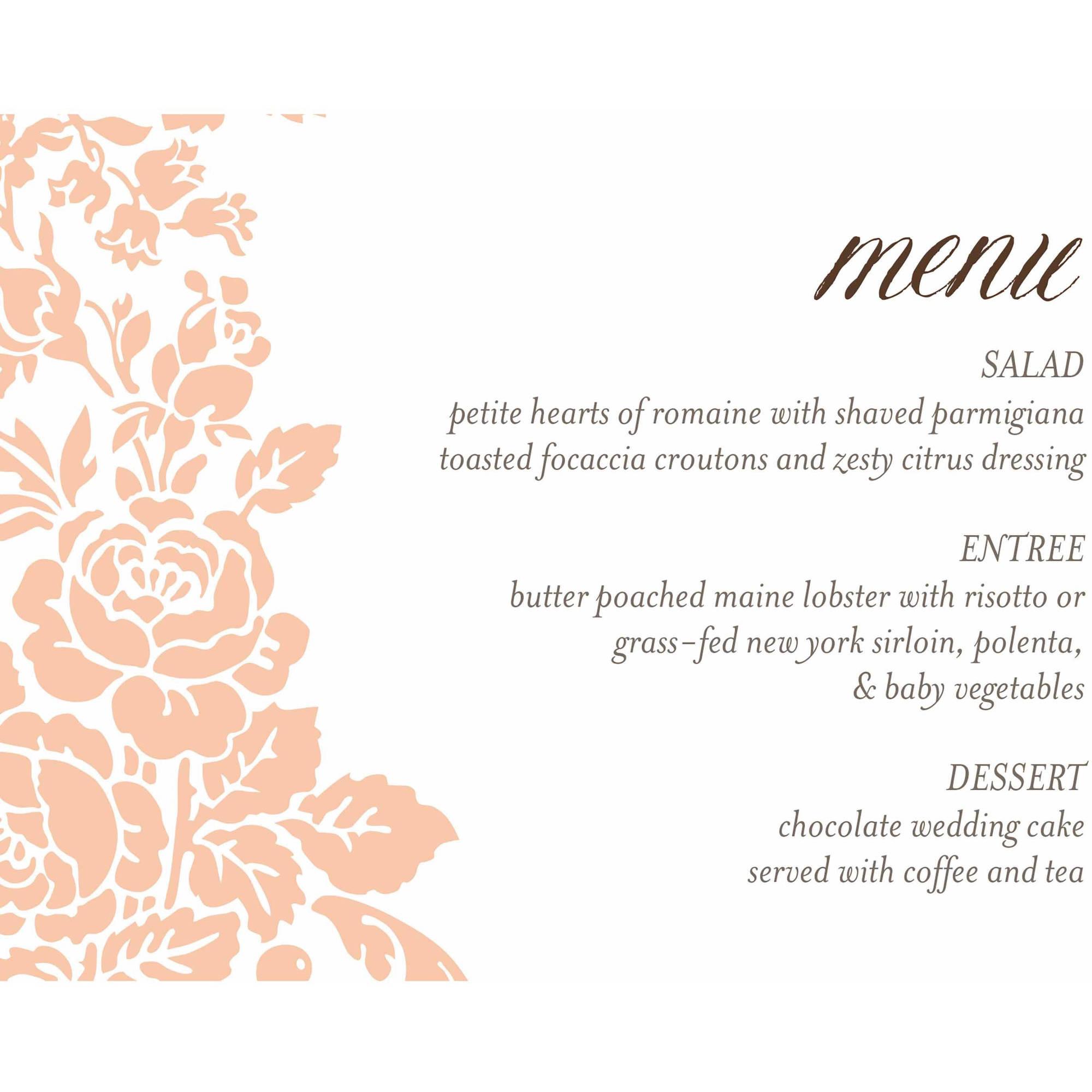 Classic Floral Standard Menu Card