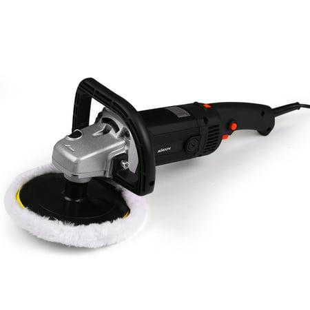 KKmoon 7〃 1400W Handheld Orbital Electric Car Waxing Polisher Machine M14 Polisher 180mm Car Paint Care Variable Speed Household Marble Tile Floor Polishing Glazing tool / Black + (Floor Waxing Machine)