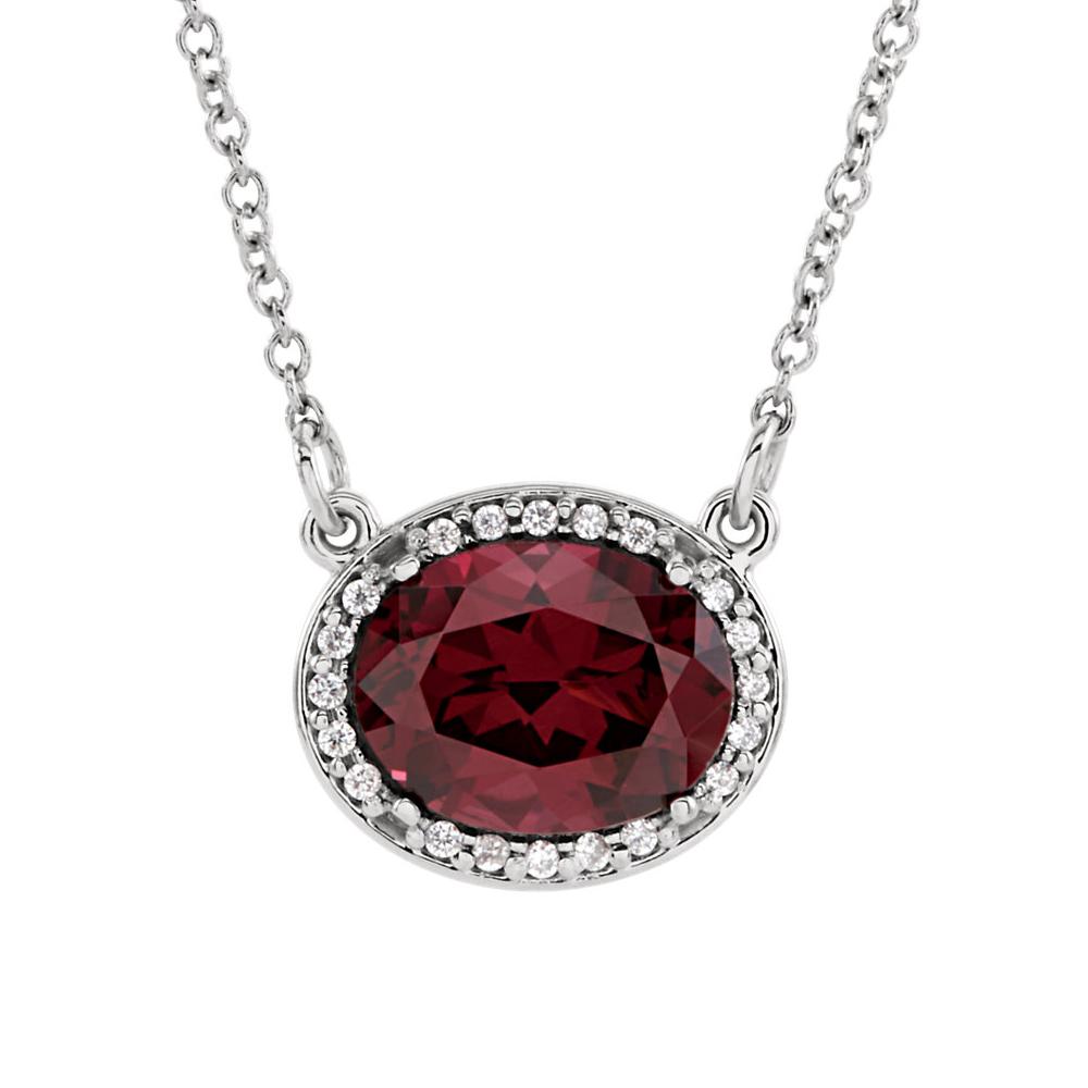 Oval Rhodolite Garnet & .05 Ctw Diamond 14k White Gold Necklace, 16 Inch by Black Bow Jewelry Company