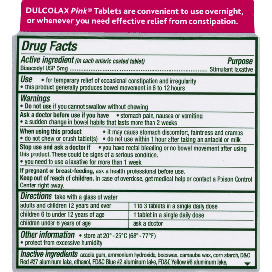 Dulcolax Pink Laxative Comfort Coated Tablets 90ct Bisacodyl Usp 5