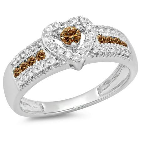 0.55 Carat (ctw) 14K White Gold Round Cut Champagne & White Diamond Ladies Bridal Heart Shaped Promise Engagement Ring 1