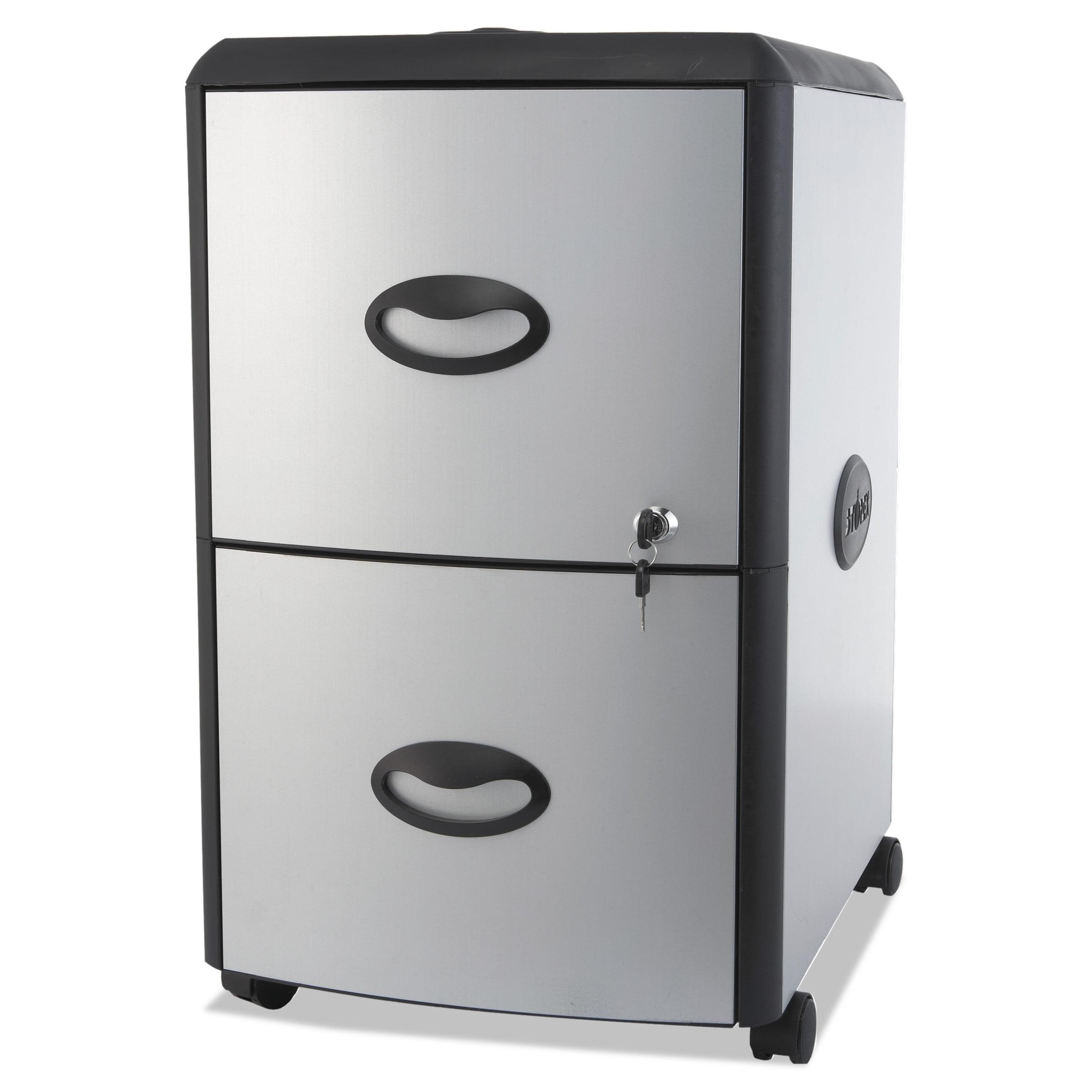 Storex Two-Drawer Mobile Filing Cabinet, Metal Siding, 19w x 15d x ...