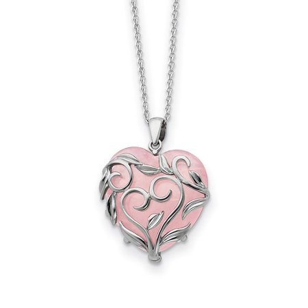 Sterling Silver & Rose Quartz Generous Heart 18in Necklace Genuine Heart Rose Quartz Necklace
