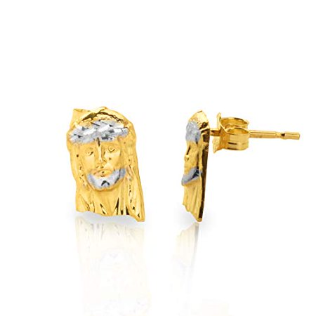 LoveBling 10k Yellow Gold Two- Tone Jesus Head Stud Earrings (0.45
