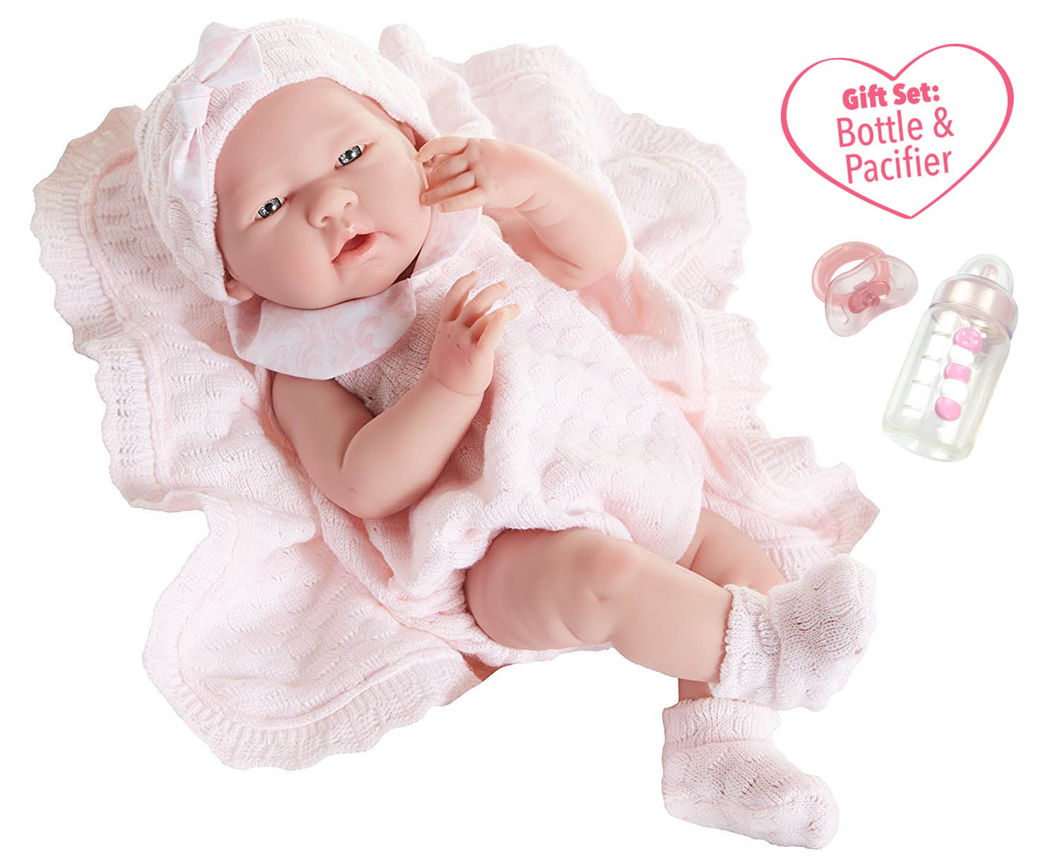 """JC Toys La Newborn All Vinyl Anatomically Correct Real Girl 15"""" Baby Doll in Pink Knit Outfit and... by JC Toys Group Inc."""