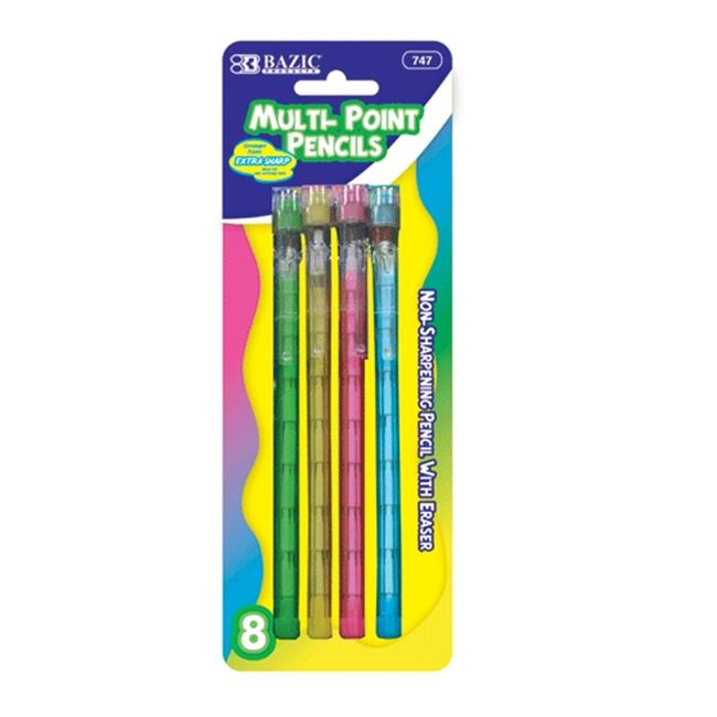 Bazic Products 747-24 BAZIC Transparent Multi-Point Pencil - 8-Pack Case of 24