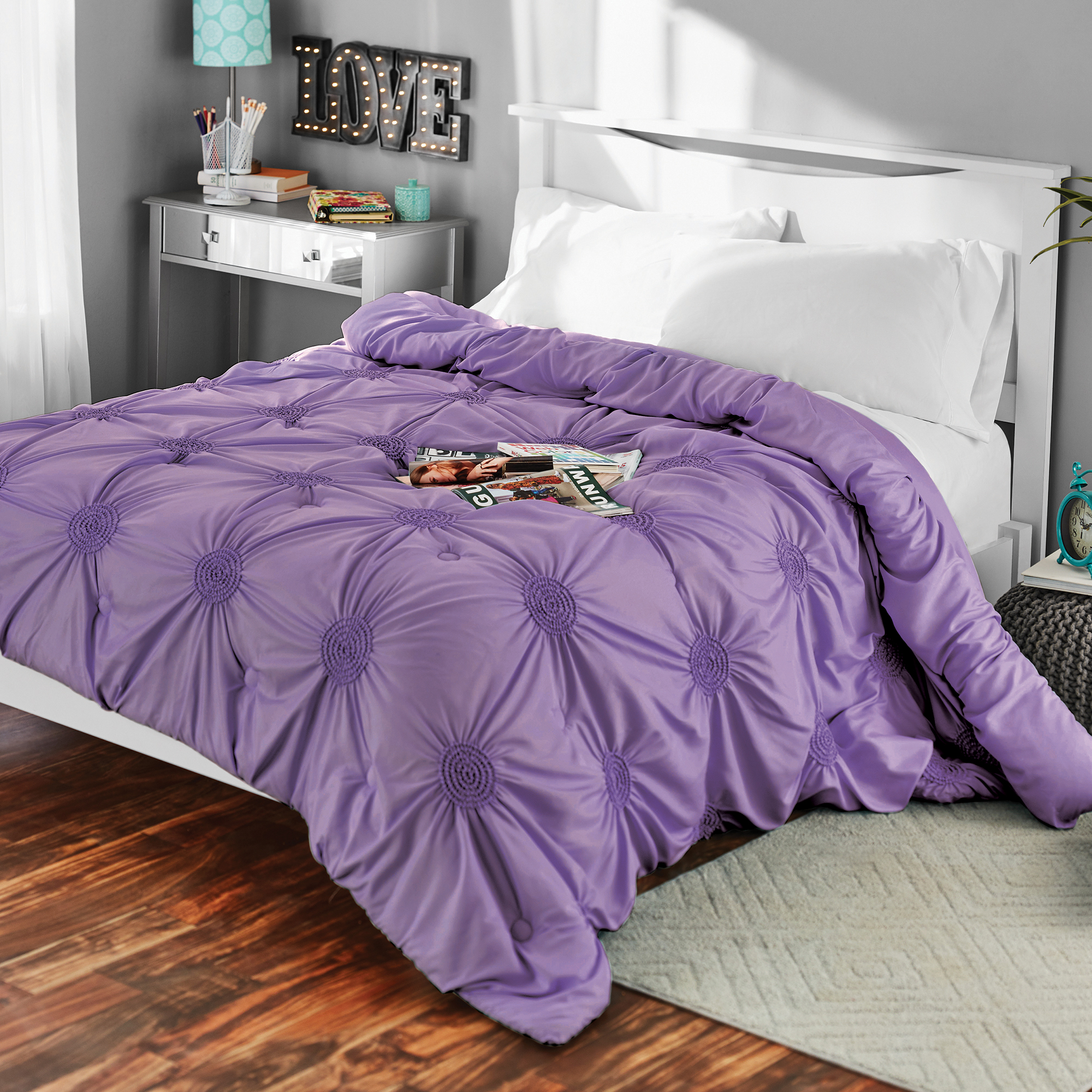 Mainstays Solid Elastic Circle Ruched Microfiber Comforter Lavender Full Queen Walmart Com Walmart Com