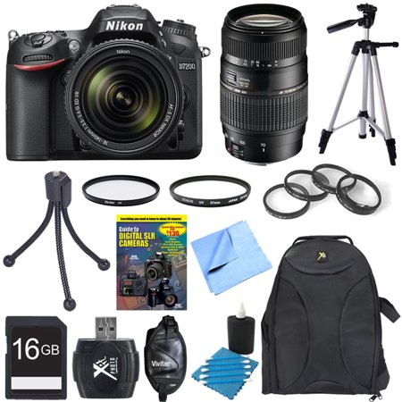Nikon D7200 DX-format Black Digital SLR Camera w/ 18-140mm and 70-300mm Lens Bundle